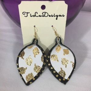 Earrings NWT handmade leather by TiLu Designs leaf